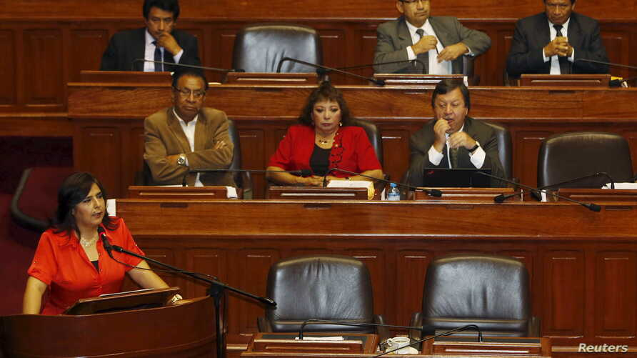 Peruvian Prime Minister Ana Jara answers about a spying scandal linked to Peru's National Intelligence Office at the Congress in Lima, March 19, 2015.