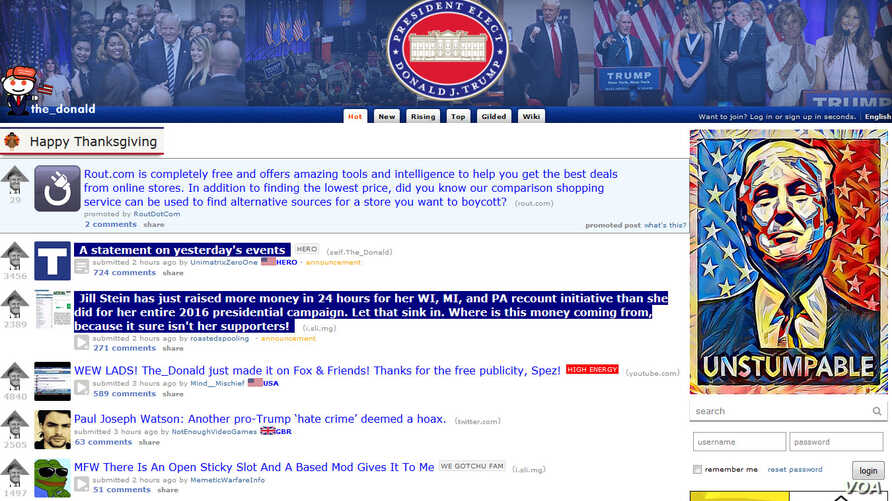 A screengrab of the Reddit's r/thedonald homepage, as seen on Nov. 25, 2016.