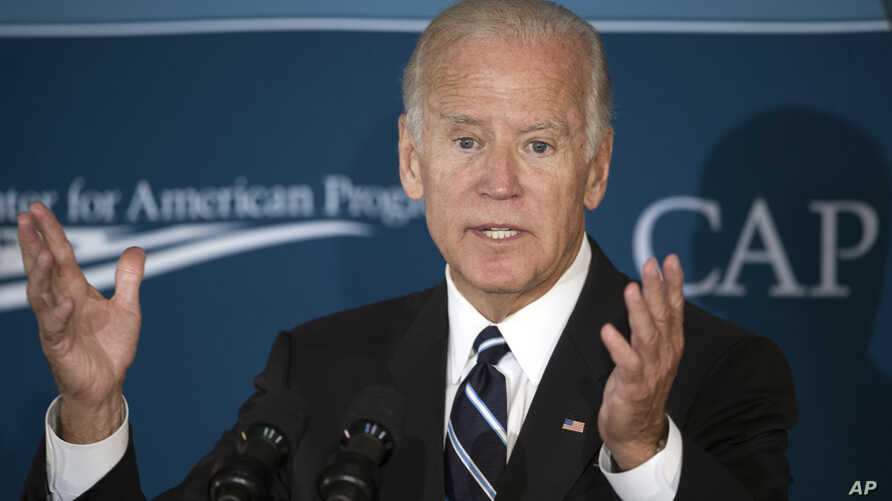Vice President Joe Biden gestures while speaking at the Center for American Progress' meeting on middle-class economic security, Sept. 8, 2016, in Washington.