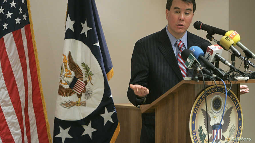 U.S. Under Secretary of State John Rood speaks at a news conference in Budapest, Dec. 13, 2007 after talks on missile defense with Russian counterparts.