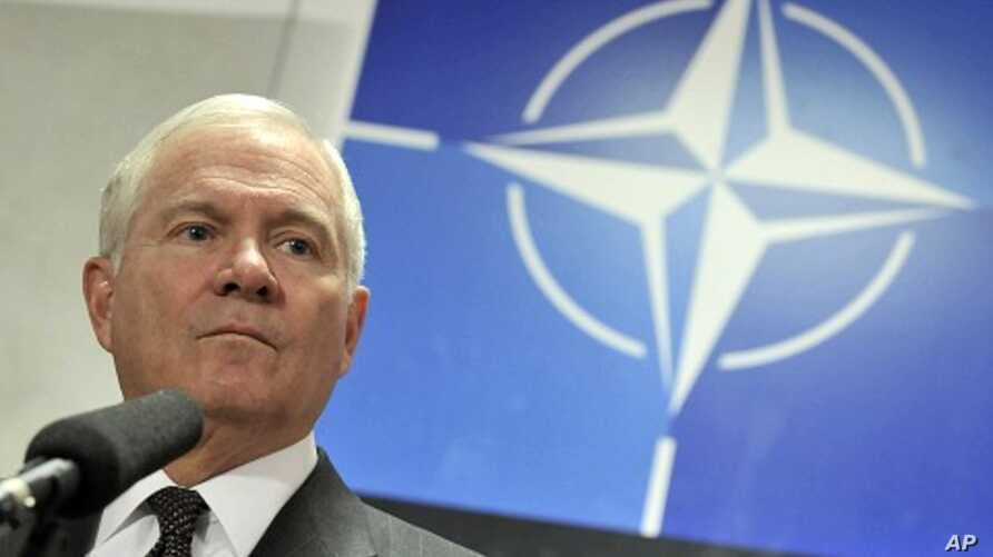 U.S. Defense Secretary Gates holds a news conference at a NATO defense ministers meeting at the Alliance headquarters in Brussels, March 10, 2011