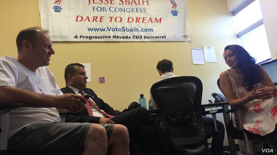 Jesse Sbaih meeting with his campaign team in his election headquarters. (K. Farabaugh/VOA)