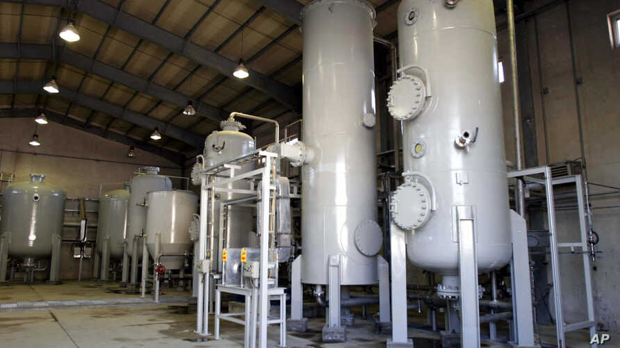 FILE - This Oct. 27, 2004 file photo, shows the interior of the Arak heavy water production facility in Arak, located southwest of Tehran, Iran.