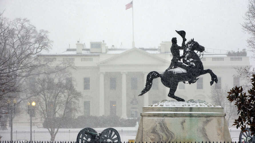 Snow falls at the White House after a winter weather prompted schools and the federal government to close, March 3, 2014 in Washington, D.C..