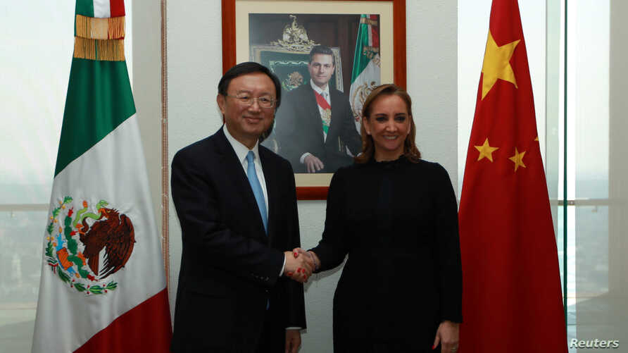 Mexico's Foreign Minister Claudia Ruiz Massieu shakes hands with Chinese State Councillor Yang Jiechi after attending a private meeting at the foreign ministry building (SRE), in Mexico City in this undated handout photo released to Reuters by the Me
