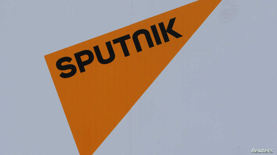The logo of Russian state news agency Sputnik is seen on a board at the St. Petersburg International Economic Forum 2017 (SPIEF 2017) in St. Petersburg, Russia, June 1, 2017.