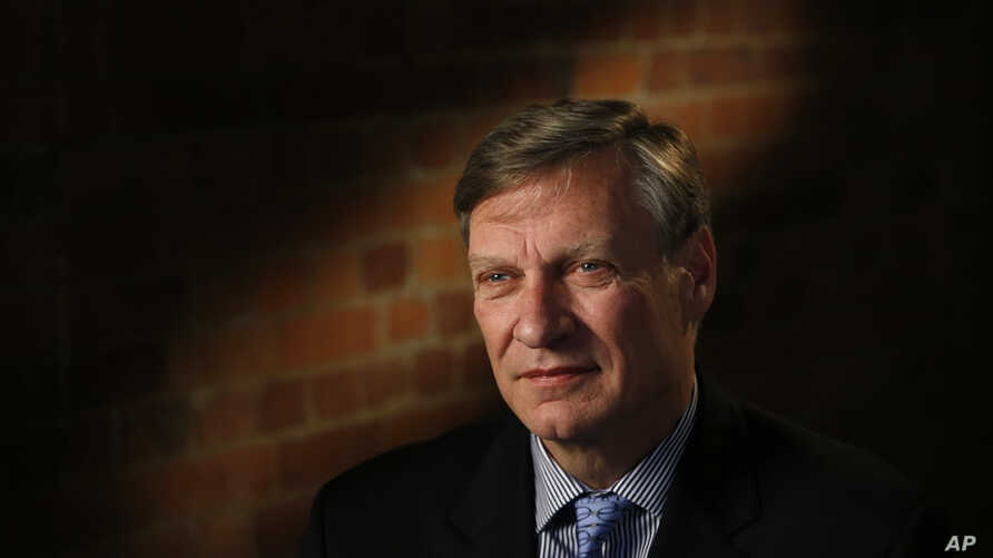 FILE - U.S. businessman Theodore Malloch speaks to The Associated Press during an interview in London, Feb. 9, 2017.