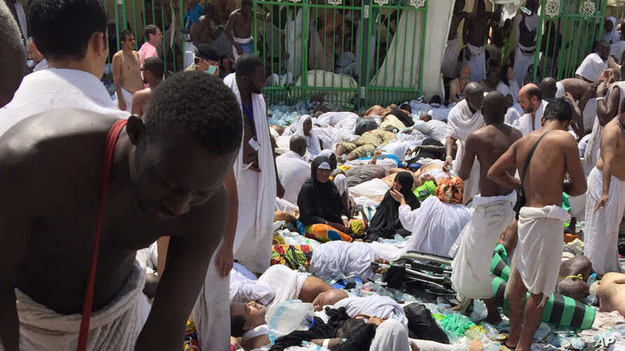 Muslim pilgrims gather around the victims of a stampede in Mina, Saudi Arabia during the annual hajj pilgrimage, Sept. 24, 2015.