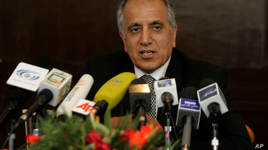 FILE - US politician Zalmay Khalilzad speaks during a news conference at Serena Hotel in Kabul , Afghanistan.