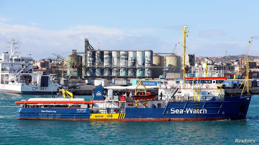 FILE - The migrant search and rescue ship Sea-Watch 3 arrive at the port of Catania, Italy, Jan. 31, 2019.