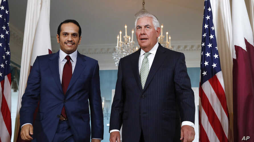 Secretary of State Rex Tillerson (right) meets with Qatari Foreign Minister Sheikh Mohammed bin Abdulrahman Al Thani, June 27, 2017, at the State Department in Washington.