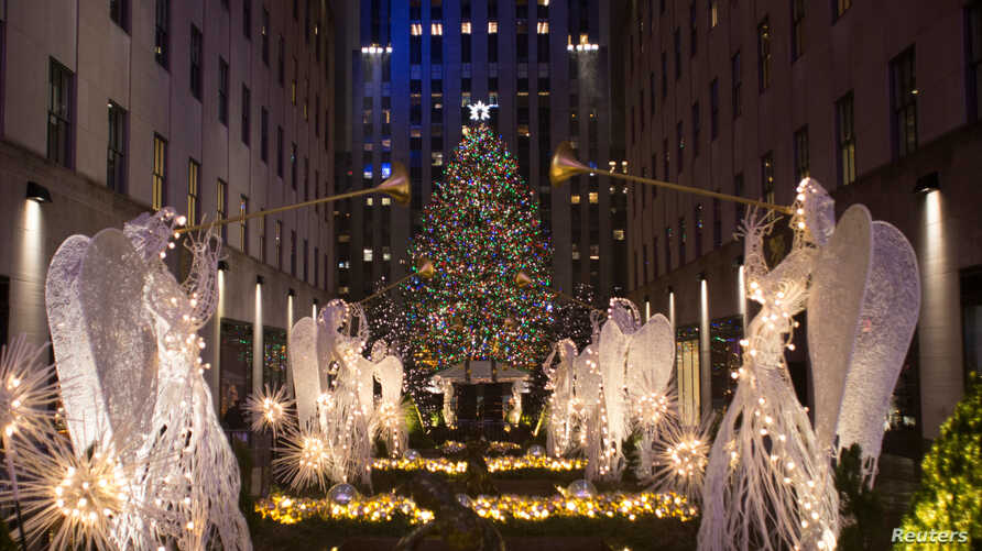 The Christmas tree stands lit after the lighting ceremony for the 84th annual Rockefeller Center Christmas Tree at Rockefeller Center in Manhattan, New York City, U.S., Nov. 30, 2016.