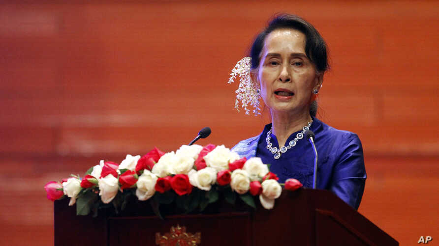 "Myanmar's leader Aung San Suu Kyi speaks during the signing ceremony of ""Nationwide Ceasefire Agreement"" at Myanmar International Convention Center in Naypyitaw, Myanmar, Feb. 13, 2018."