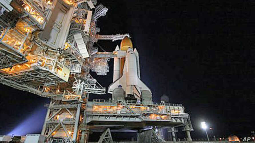 Space shuttle Endeavour sits on Launch Pad 39-A at the Kennedy Space Center in Cape Canaveral, Fla., April 29, 2011