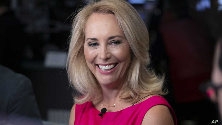 FILE - Former undercover CIA officer Valerie Plame is interviewed on Cheddar, on the floor of the New York Stock Exchange, Oct. 22, 2018.