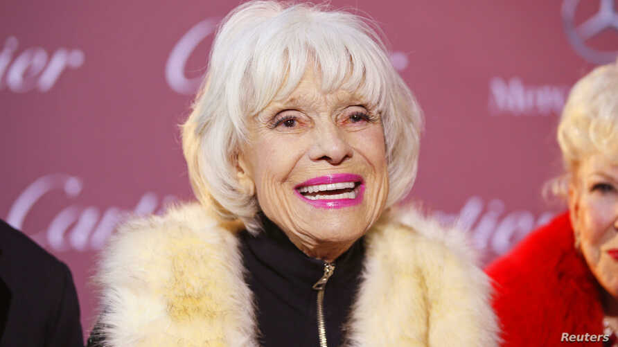 FILE - Comedian Carol Channing poses at the 26th Annual Palm Springs International Film Festival Awards Gala in Palm Springs, California, Jan. 3, 2015.