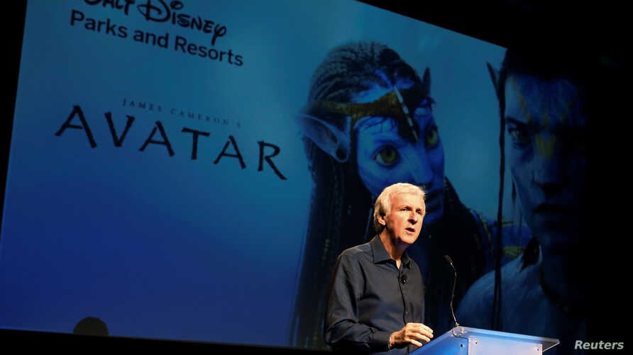 """FILE - Director James Cameron announce a long-term agreement which will bring """"Avatar""""-themed lands to Disney parks as he speaks at a media briefing in Glendale, Calfornia, Sept. 20, 2011."""