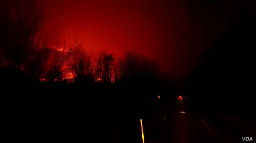 A fire burns at Great Smoky Mountains National Park in this photo tweeted by the National Parks Service November 29, 2016. Officials closed all facilities due to extensive fire activity and downed trees.