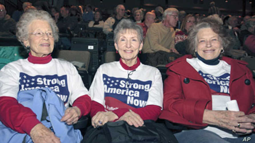 Katie McCann, and Bev Stogdill (L-R) from Johnston, Iowa, await the beginning of the Iowa Faith & Freedom Coalition's Spring Event at Point of Grace Church in Waukee, Iowa. Five possible Republican White House hopefuls courted conservative voters in