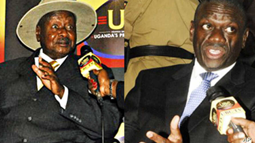 Uganda President Yoweri Museveni, left, being interviewed by a journalist, after he was nominated to run for presidential elections; Forum for Democratic Change's Dr. Kizza Besigye after being nominated for presidential elections in the capital city