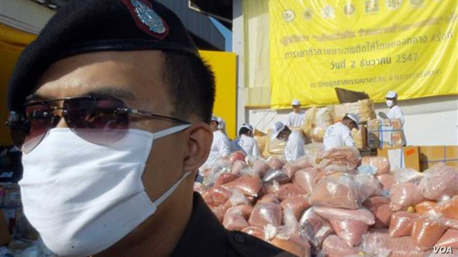 Policeman stands in front of pile of seized drugs during narcotics destruction ceremony in Thailand (2004 photo)