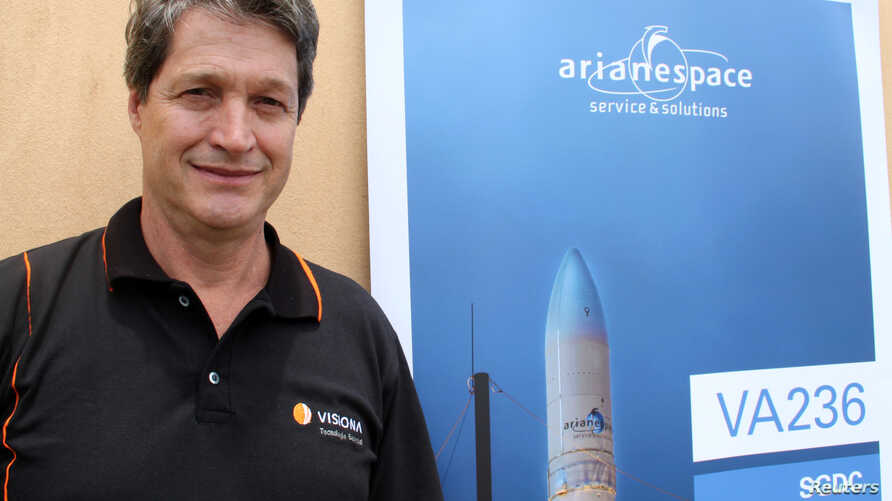 Visiona Chief Executive Eduardo Bonini poses for picture before the launch of Brazil's first defense and strategic satellite communications, in Kourou, French Guiana, March 21, 2017.