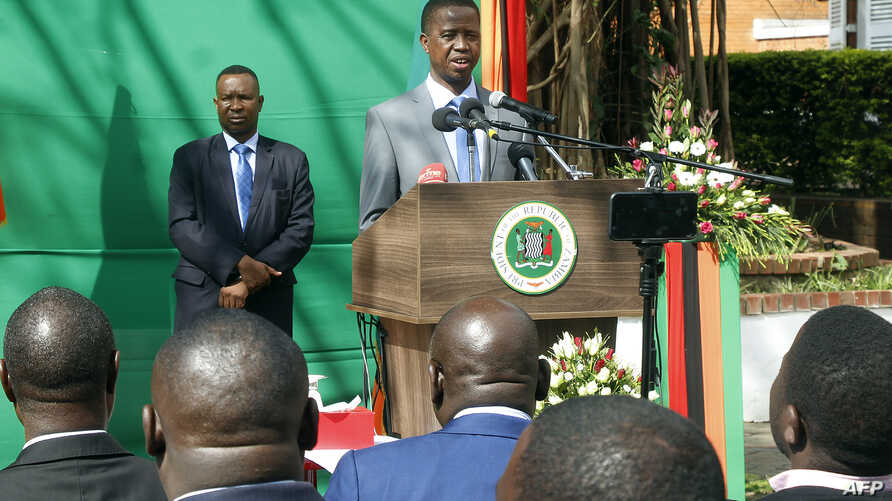 "Zambian President Edgar Lungu gives a press briefing July 6, 2017, at the Zambian State House in Lusaka. Lungu on Thursday justified invoking a state of emergency by alleging that opposition parties were behind a string of arson attacks intended ""to ..."