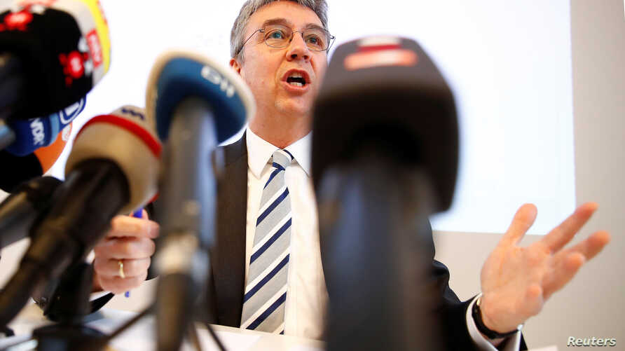 Andreas Mundt, president of Germany's Federal Cartel Office addresses a news conference presenting findings of the anti-trust watchdog's investigation into Facebook's data collection practices in Bonn, Germany, Feb. 7, 2019.