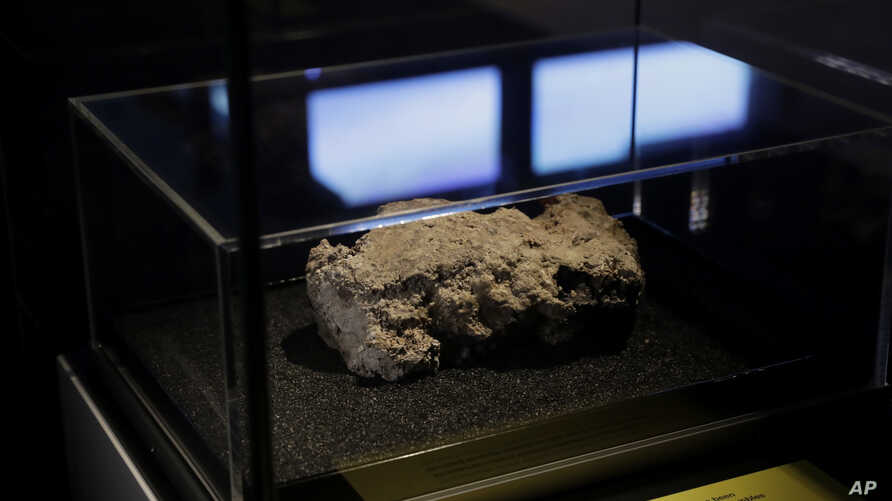The only remaining piece of the 130 ton, 250-meter long fatberg, removed from the sewers in the Whitechapel area of east London in the latter months of 2017, is displayed during a media preview at the Museum of London in London, Feb. 8, 2018.
