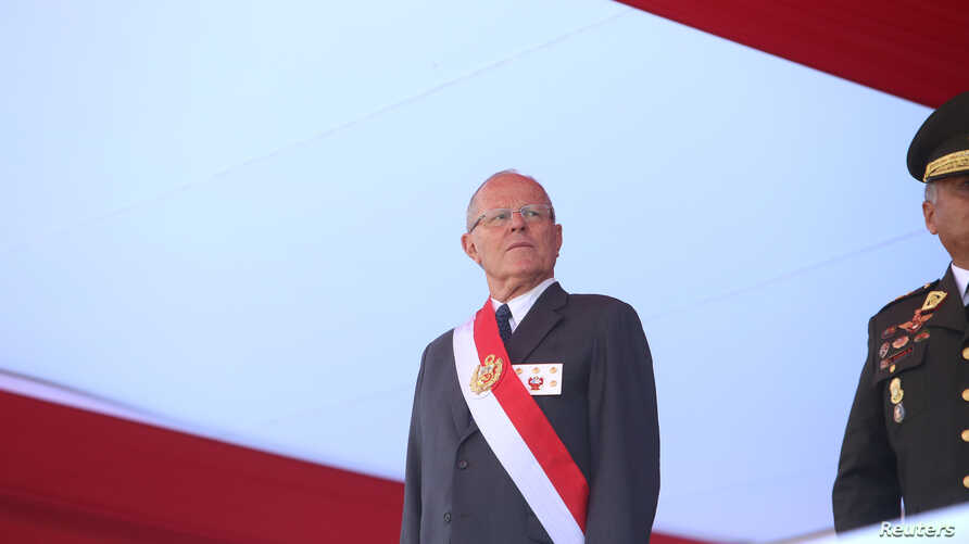 Peruvian President Pedro Pablo Kuczynski attends a ceremony at the Air Force base in Lima, Peru, Dec. 14, 2017.