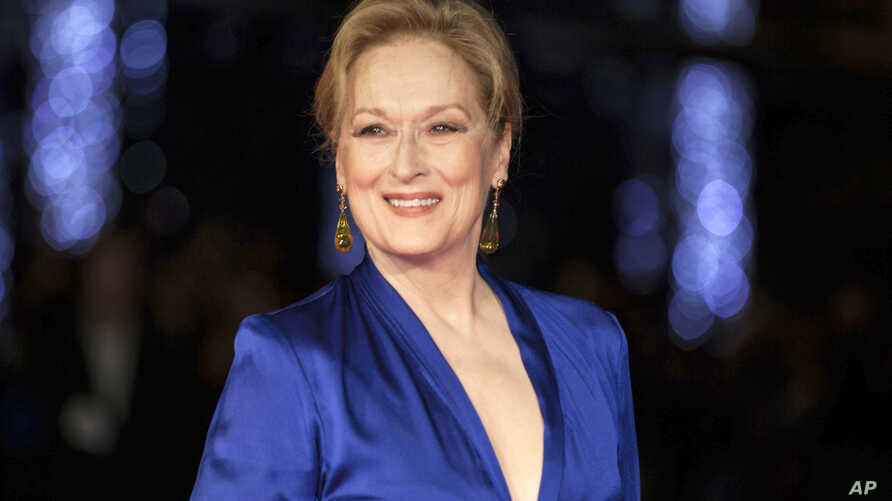 """FILE - Meryl Streep appears at the premiere of the film """"Suffragette,"""" at the opening gala of the London film festival in London, Oct. 7, 2015."""