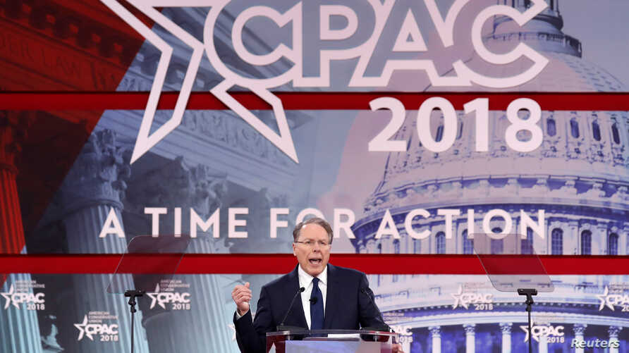 National Rifle Association Executive Vice President and CEO Wayne LaPierre speaks at the Conservative Political Action Conference (CPAC) at National Harbor, Maryland, Feb. 22, 2018.