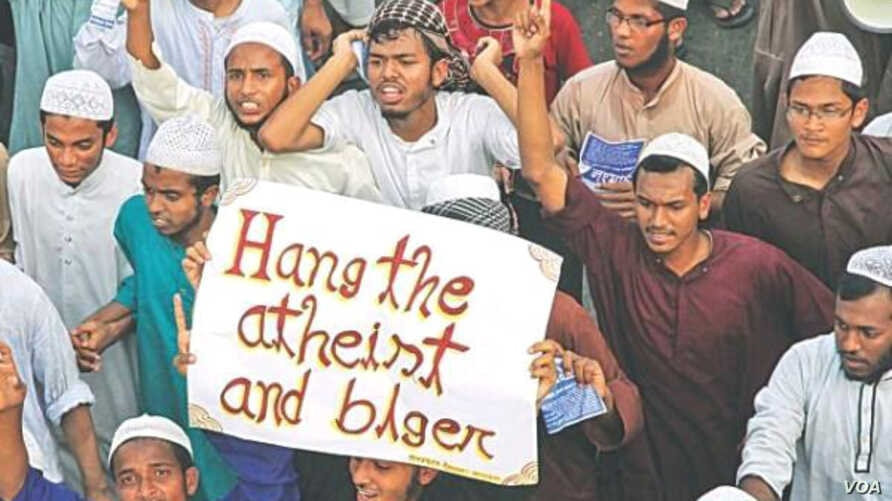 Islamist protesters demand public execution of the country's atheist bloggers, whom they accuse of humiliating and ridiculing Islam, the Koran and Prophet Mohammad, in Chittagong, Bangladesh,in March 2013.