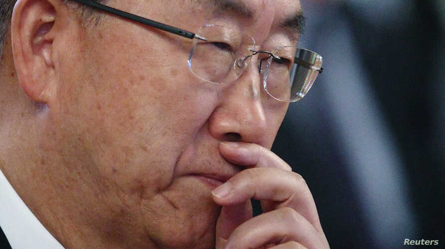 U.N. Secretary General Ban Ki-moon listens during a ceremony at the city hall in Vienna, Aug. 29, 2013.