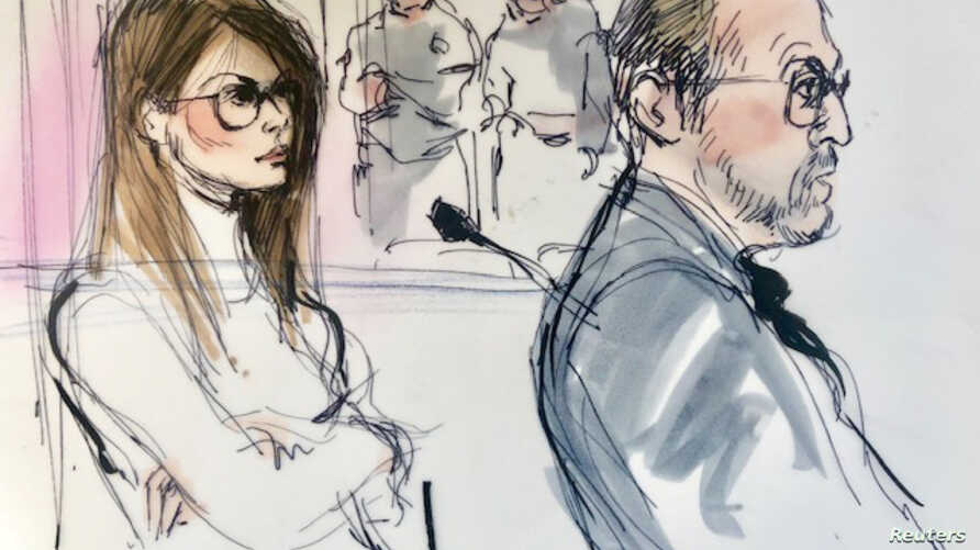 FILE - Actor Lori Loughlin, left, appears in this court sketch at a hearing for a racketeering case involving the allegedly fraudulent admission of children to elite universities, at the U.S. federal courthouse in downtown Los Angeles, California, Ma...