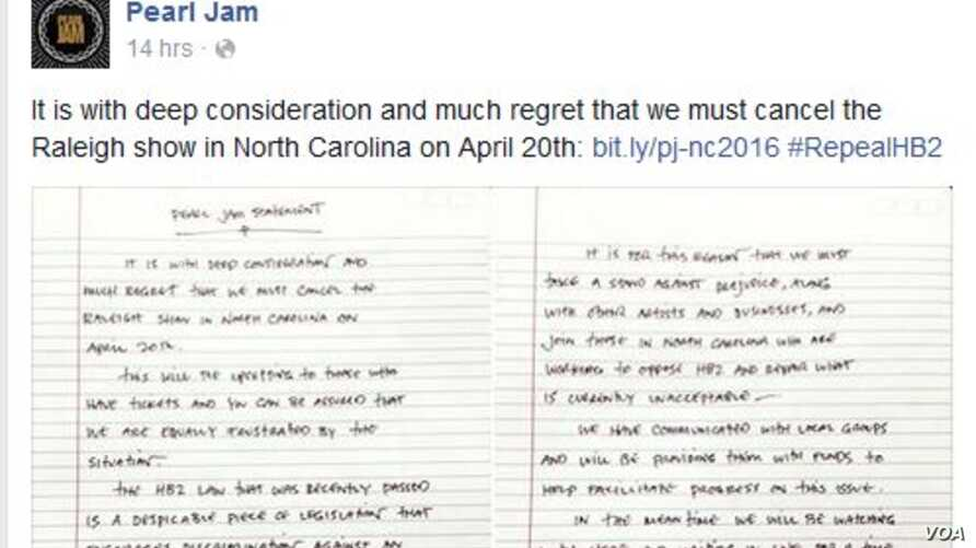 "A website screen grab shows a statement by the rock band Pearl Jam, announcing the cancellation of a planned April 20 concert in North Carolina, April 18, 2016. They called a recently passed North Carolina law ""despicable."""