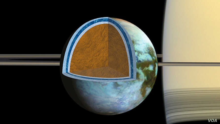 Researchers found that Titan's ice shell, which overlies a very salty ocean, varies in thickness around the moon, suggesting the crust is in the process of becoming rigid.