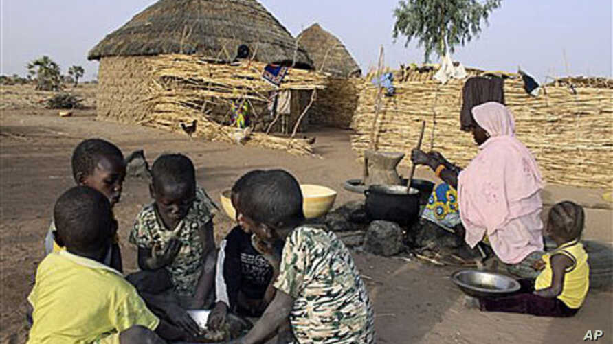 A Nigerien woman cooks millet paste as children eat breakfast from a shared bowl in the village of Tamou, 60 kilometers outside Niamey, Niger, Feb 2010 (file photo)