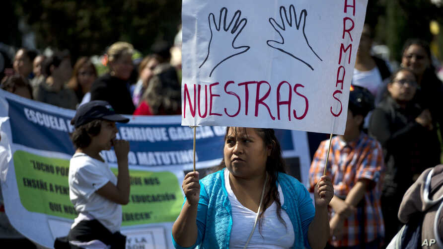 """A protester carries a sign reading """"Our arms,"""" as members of a dissident teachers union participate in one of four coordinated marches in Mexico City, July 6, 2016."""