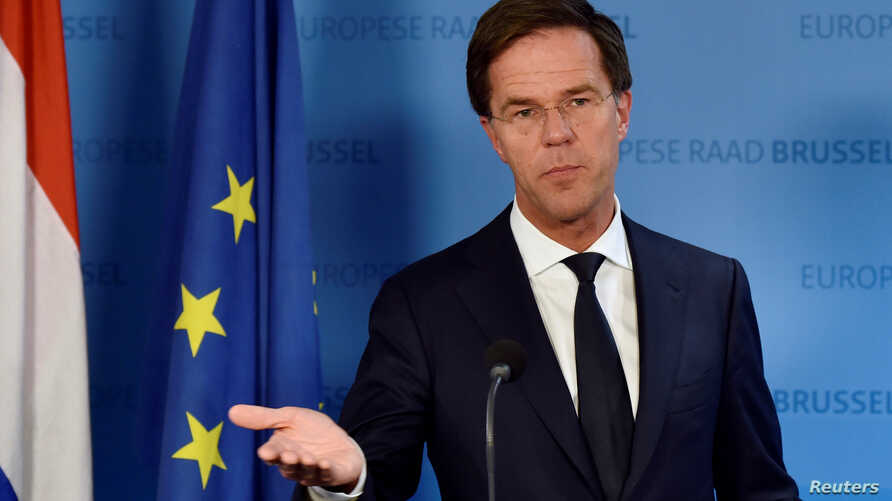 Netherlands' Prime Minister Mark Rutte holds a news conference during an EU Summit at the European Council headquarters in Brussels, Belgium Dec. 15, 2016.