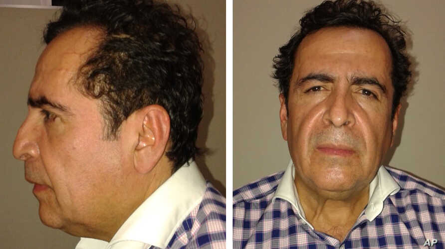 This two-image composite released by Mexico's Attorney General's Office (PGR)  shows alleged cartel capo Hector Beltran Leyva after his arrest by Mexican law enforcement authorities, Oct. 1, 2014.