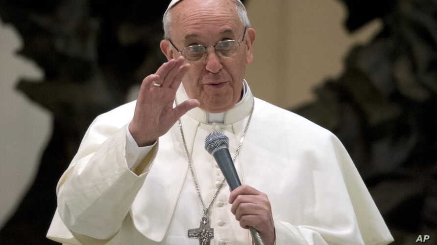 Pope Francis speaks during a meeting with the media at the Pope VI hall, at the Vatican, March 16, 2013.