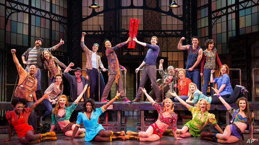 """The cast during a performance of the musical """"Kinky Boots.""""  The Cyndi Lauper-scored """"Kinky Boots"""" has earned a leading 13 Tony Award nominations, Apr. 30, 2013."""