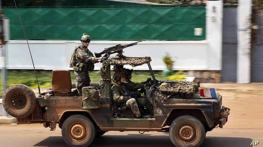 French Special Forces race through Bangui, Central African Republic, Dec. 5, 2013.