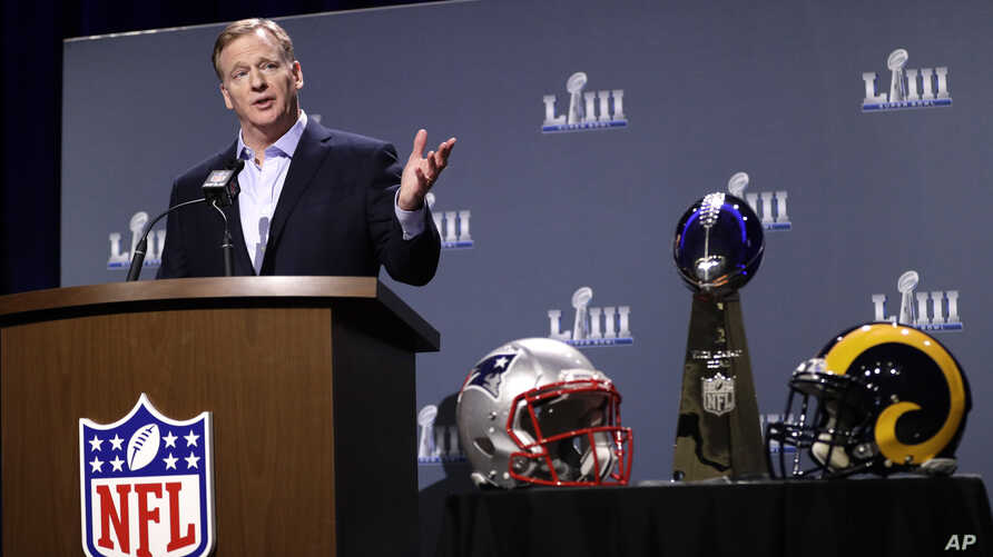 NFL Commissioner Roger Goodell answers a question during a news conference for NFL Super Bowl 53, Jan. 30, 2019, in Atlanta.