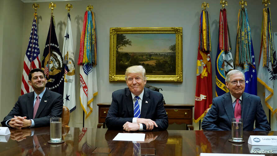 President Donald Trump meets with Speaker of the House Paul Ryan (R-WI) and Senate Majority Leader Mitch McConnell (R-KY) and other Republican Congressional leaders about tax reform at the White House in Washington, September 5, 2017.