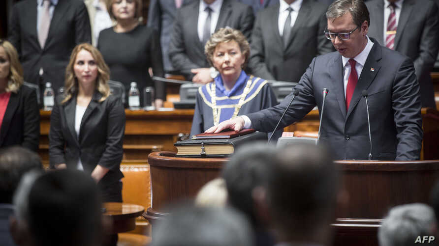 Serbia's President-elect Aleksandar Vucic takes oath during the inauguration ceremony of office in Belgrade, May 31, 2017.