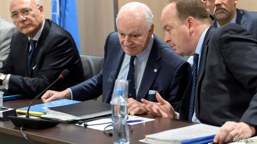 UN Special Envoy of the Secretary-General for Syria Staffan de Mistura, attends a meeting of Intra Syria peace talks with Syrian government delegation at the European headquarters of the United Nations in Geneva, March 1, 2017.