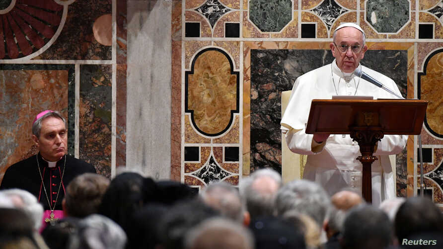 Pope Francis makes his speech during an audience with the diplomatic corps accredited to the Holy See for the traditional exchange of New Year greetings at the Vatican, Jan. 9, 2017.