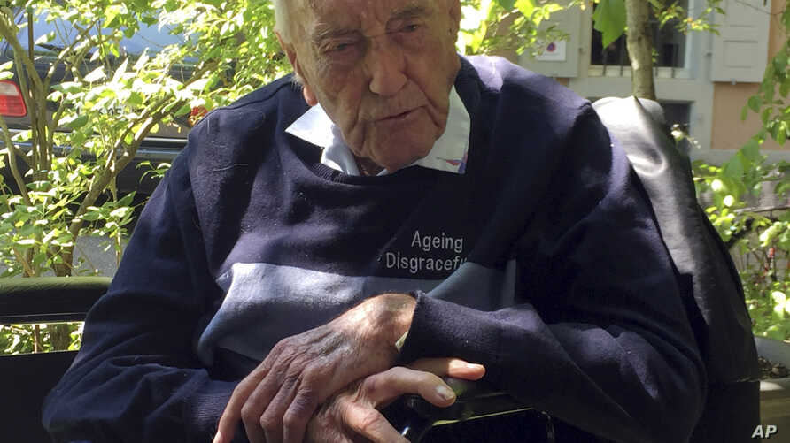 104-year-old Australian scientist David Goodall sits in a wheelchair in Basel, Switzerland, May 8, 2018.